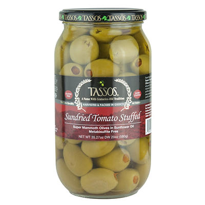 Tassos Sundried Tomato Stuffed Olives, 35.27 oz.