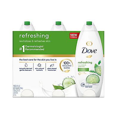 Dove go fresh Cool Moisture Body Wash, 3 pk./24 oz.