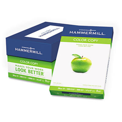 "Hammermill Color Copy Paper with 100 Brightness, 28-lb., 11"" x 17"", 50"