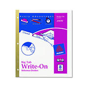 Avery Write-On Index Dividers with Erasable Laminated Tabs, 8 Tabs per Set - White