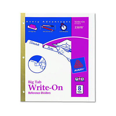 Avery Write-On Index Dividers with Erasable Laminated Tabs, 8 Tabs per