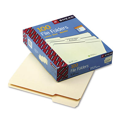 Smead 1-Ply Top Tab File Folders with 1/3 Tab Cut, Letter, 100 ct. - M