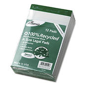 """Ampad Perforated Recycled Pads with Jr. Legal Rule, 5"""" x 8"""", 50 Sheets per Pad, 12 pk. - White"""