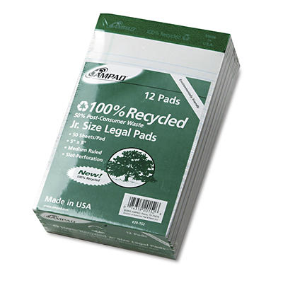"Ampad Perforated Recycled Pads with Jr. Legal Rule, 5"" x 8"", 50 Sheets"