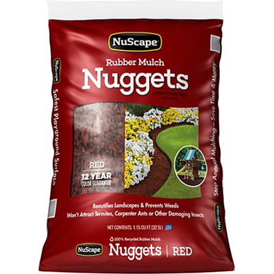 NuScape Rubber Mulch Nuggets, 1.15 cu. ft. - Red