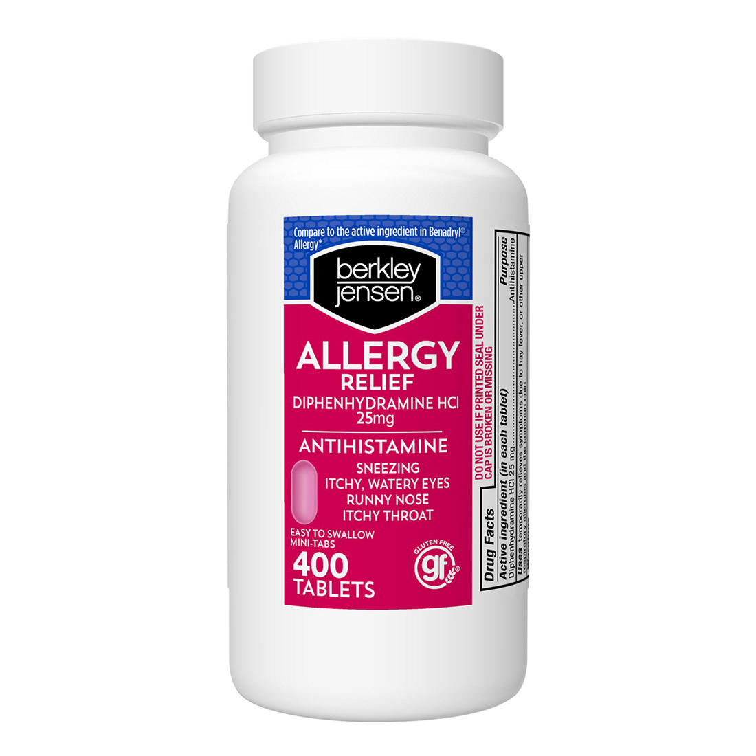 Berkley Jensen 25mg Diphenhydramine Hydrochloride Antihistamine Tablets,  400 ct