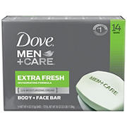 Dove Men +Care Extra Fresh Body and Face Bar, 14 ct./4 pk.