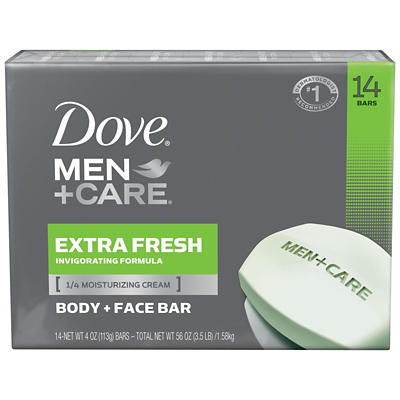 Dove Men +Care Extra Fresh Body and Face Bar, 14 ct./4 pk.