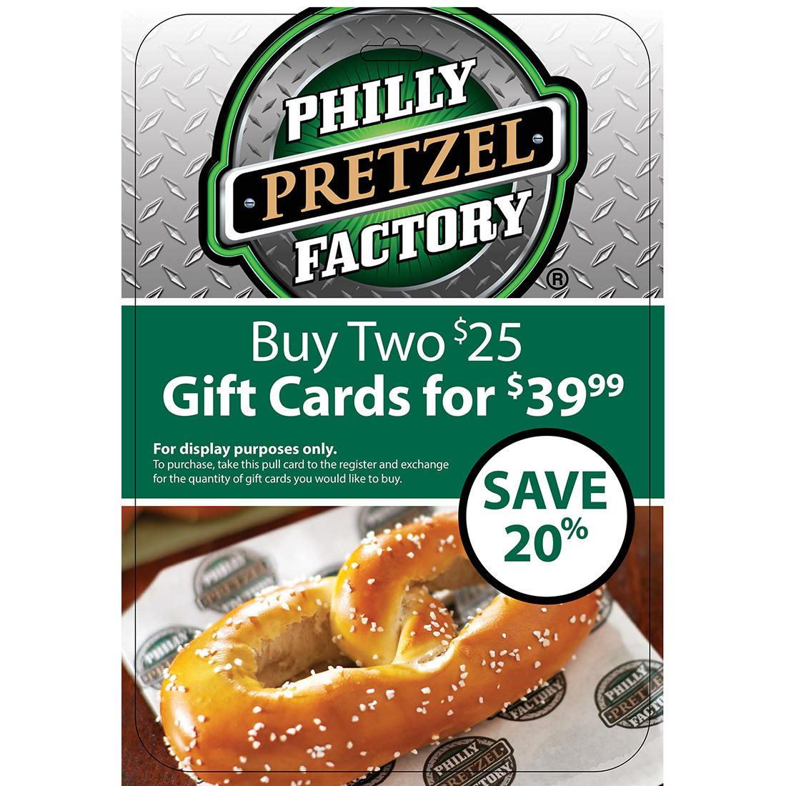 image about Philly Pretzel Factory Coupons Printable called $25 Philly Pretzel Manufacturing unit Present Card, 2 pk.