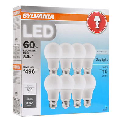 Sylvania 60W Equivalent LED A19 Lamp Light Bulb, 8 pk. - Daylight