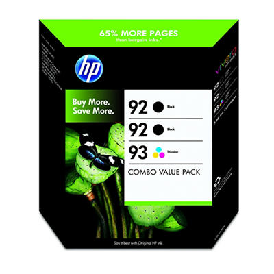 HP 92 and 93 Combo Ink Cartridges, 3 pk.