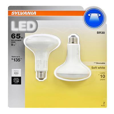 Sylvania 65W Equivalent LED BR30 Lamp Light Bulb, 2 pk. - Soft White