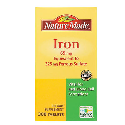 Nature Made 65mg Iron Tablets, 300 ct.
