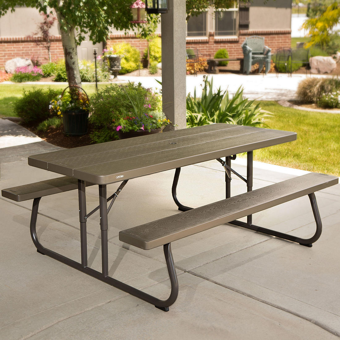 Pleasing Lifetime 6 Folding Picnic Table Brown Pabps2019 Chair Design Images Pabps2019Com