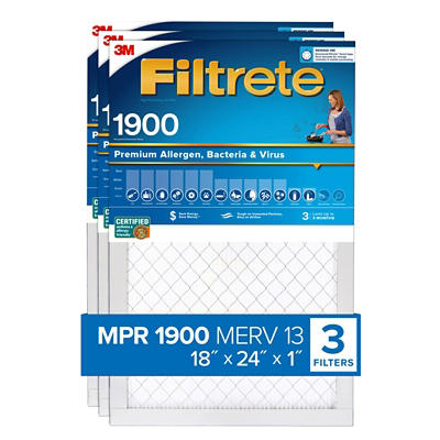 "Filtrete Ultimate Allergen Filter 18""L x 24""W x 1""H, 3 ct."