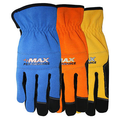 MidWest Gloves & Gear Men's Large Max Performance Gloves, 3 pk.
