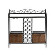 SEI Jardin 12-Bottle Bistro Wine Rack - Gunmetal/Rattan