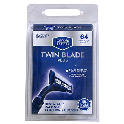 Berkley Jensen Men's Twin-Blade Disposable Razor, 64 ct.