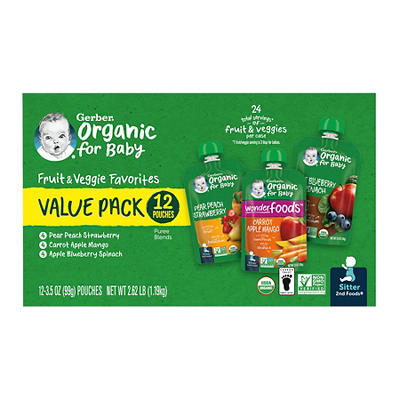 Gerber Organics Fruits and Veggies Value Pack, 12 ct./3.5 oz.