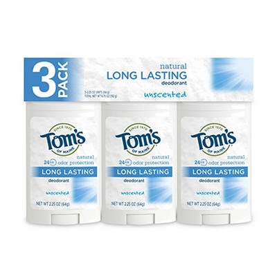 Tom's of Maine Deodorant, Unscented, 3 pk./2.25 oz.