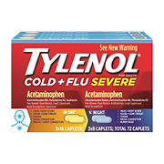 Tylenol Cold & Flu Severe Day/Night Caplets, 3 Pk./24 Ct.