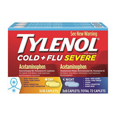 Tylenol Cold & Flu Severe Day/Night Caplets, 3 Pk./24 Ct.