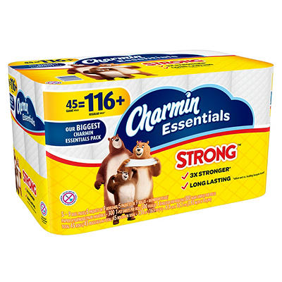 Charmin Essentials Strong Giant Roll 300-Sheet 1-Ply Toilet Paper, 45