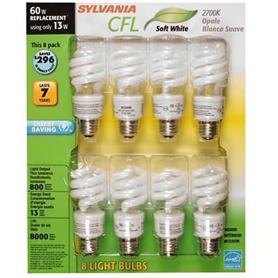 Sylvania 60W Compact Fluorescent CFL Light Bulb, 8 pk. - Soft White
