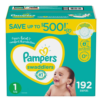 Pampers Swaddlers Diapers, Size 1, 192 ct.