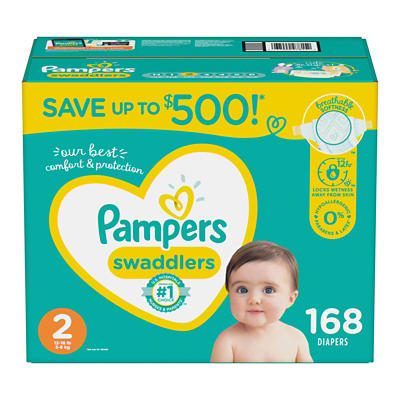 Pampers Swaddlers Diapers, Size 2, 168 ct.