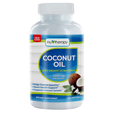 Nu-Therapy Organic Extra Virgin Coconut Oil 1,000mg Softgels, 240 ct.