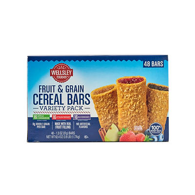 Wellsley Farms Fruit & Grain Cereal Bars Variety Pack, 48 ct.
