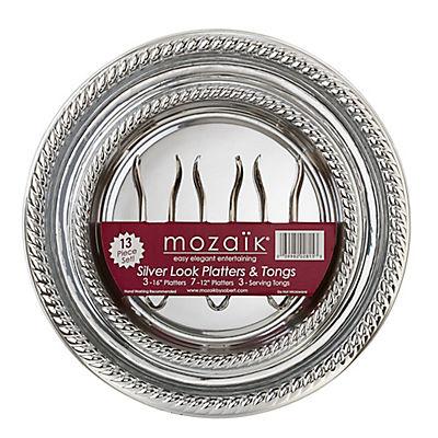 Mozaik 13-Pc. Platter and Tongs Set