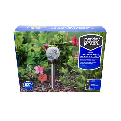 Berkley Jensen 2.4-Lumen Crackled Globe Solar Pathlights, 8 pk.