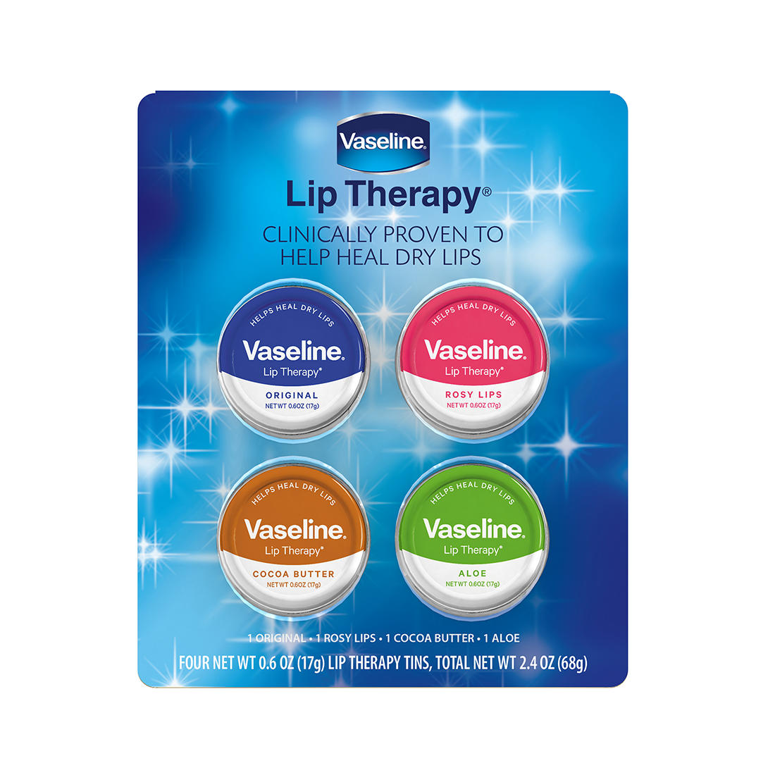 Vaseline Lip Therapy Tins, 4 pk  - BJs WholeSale Club