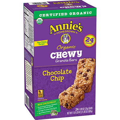 Annie's Organic Chewy Chocolate Chip Granola Bars, 24 ct.