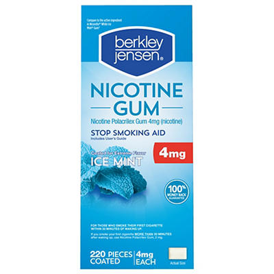 Berkley Jensen 4mg Ice Mint Coated Nicotine Gum, 220 ct.