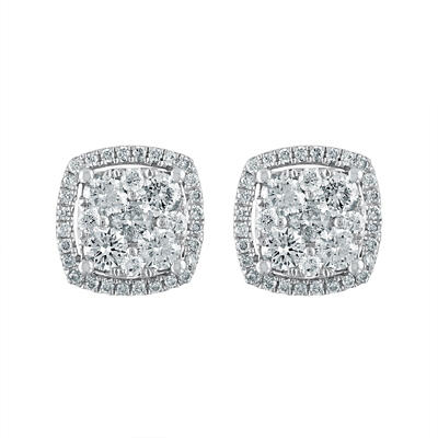 1.00 ct. t.w. Diamond Cluster Stud Earrings in 14k White Gold