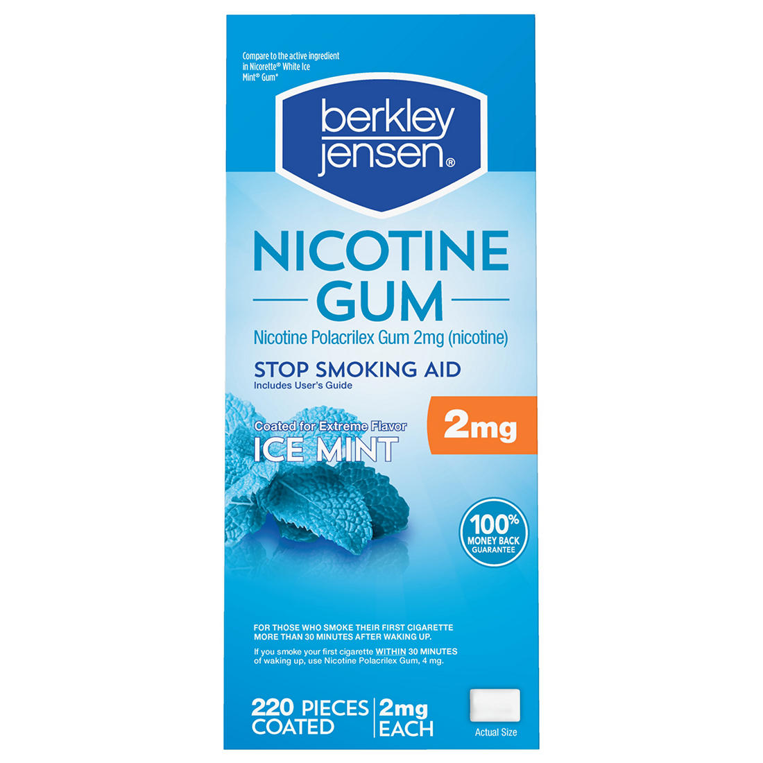 Berkley Jensen 2mg Ice Mint Coated Nicotine Gum, 220 ct