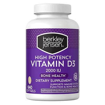 Berkley Jensen High-Potency 2,000 IU Vitamin D3 Supplement, 640 ct.