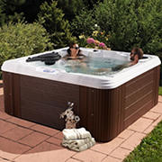 Celestial Spas Villa 7-Person 60-Jet Acrylic Hot Tub and Lounger Spa  - White/Silver Marble