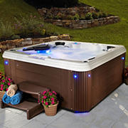 Celestial Spas Pearl 6-Person 67-Jet Acrylic Hot Tub and Lounger Spa with Bluetooth - White/Silver Marble