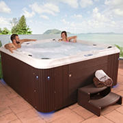 Celestial Spas Belmont 7-Person 80-Jet Acrylic Hot Tub and Spa with Bluetooth - White/Silver Marble