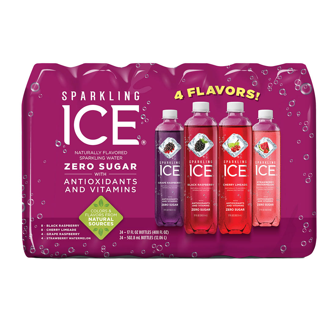 c3c326533c Sparkling Ice Very Berry Variety Pack Water, 24 pk./17 oz.
