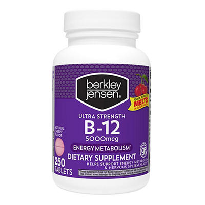 Berkley Jensen Ultra-Strength 5,000mcg Vitamin B12 Tablets, 250 ct.
