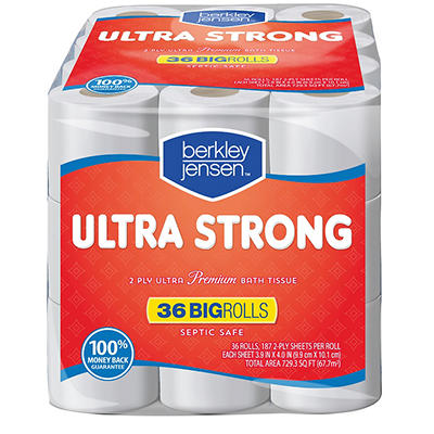 Berkley Jensen 187-Sheet 2-Ply Ultra Strong Bath Tissue, 36 pk.
