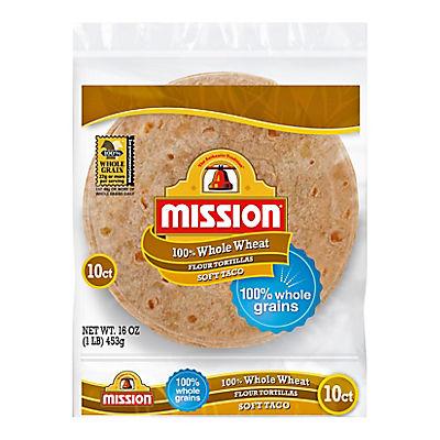 Mission 100% Whole Wheat Soft Taco Flour Tortillas, 6 ct.