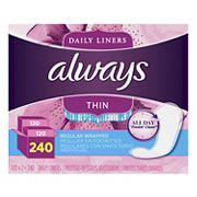 Always Regular Thin Unscented Pantiliners, 240 ct.