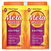 Metamucil Fiber, 4-in-1 Psyllium Fiber with Real Sugar, Orange Smooth Flavored Drink, 260 Servings