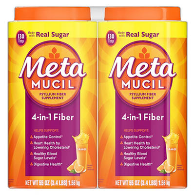 Metamucil Fiber, 4-in-1 Psyllium Fiber with Real Sugar, Orange Smooth